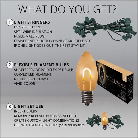 FlexFilament TM C9 Commercial Shatterproof Vintage LED String Lights, Warm White, 15 Lights, 15'