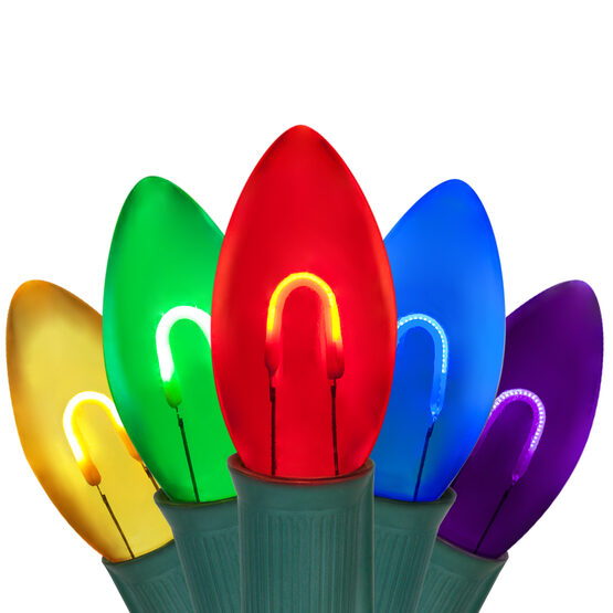 FlexFilament TM C9 Commercial Shatterproof Vintage LED String Lights, Multicolor, 15 Lights, 15'