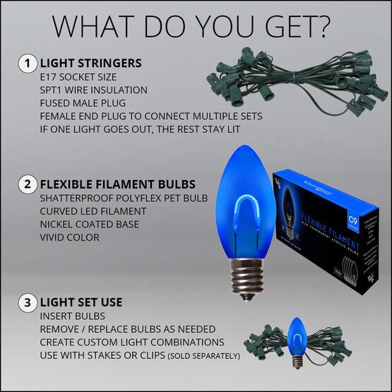 FlexFilament C9 Commercial Shatterproof Vintage LED String Lights, Blue, 15 Lights, 15'