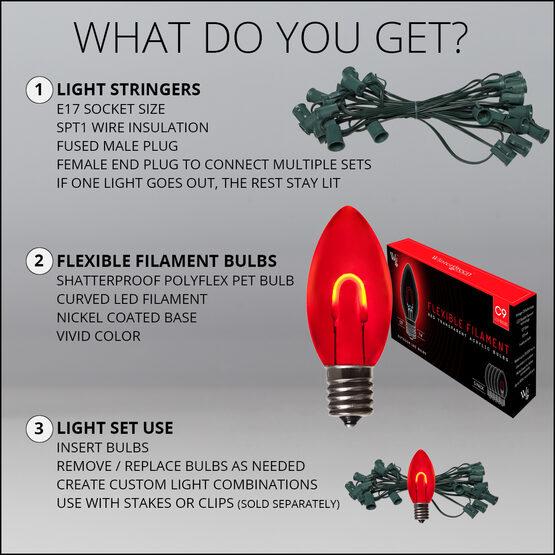 FlexFilament C9 Commercial Shatterproof Vintage LED String Lights, Red, 15 Lights, 15'