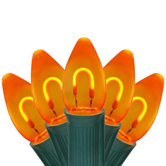 FlexFilament TM C7 Commercial Shatterproof Vintage LED String Lights, Amber, 15 Lights, 15'