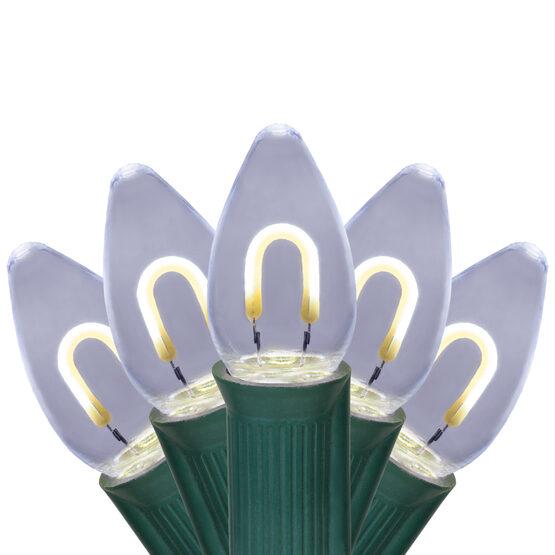 FlexFilament TM C7 Commercial Shatterproof Vintage LED String Lights, Cool White, 15 Lights, 15'