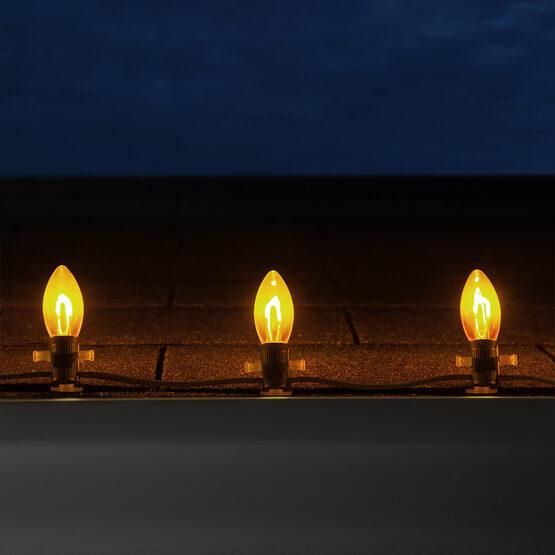 FlexFilament C9 Commercial Shatterproof Vintage LED String Lights, Gold, 25 Lights, 25'