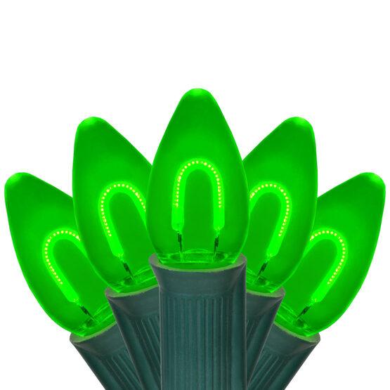 FlexFilament C7 Commercial Shatterproof Vintage LED String Lights, Green, 25 Lights, 25'