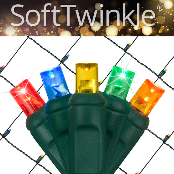 4' x 6' 5mm SoftTwinkle LED Net Lights, Multicolor, Green Wire