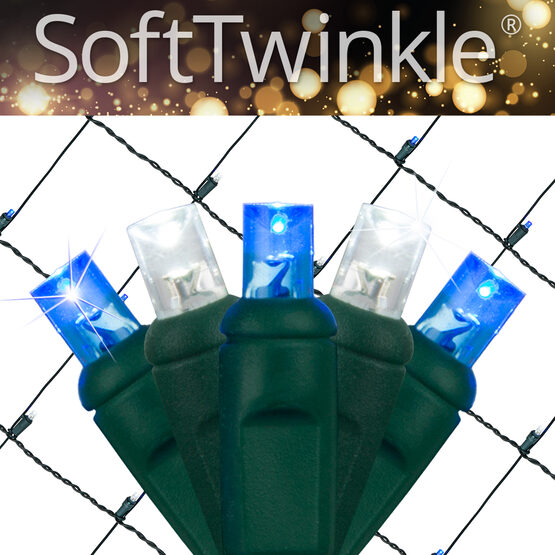 4' x 6' 5mm SoftTwinkle LED Net Lights, Blue, Cool White, Green Wire