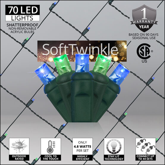 4' x 6' 5mm SoftTwinkle LED Net Lights, Blue, Green, Green Wire