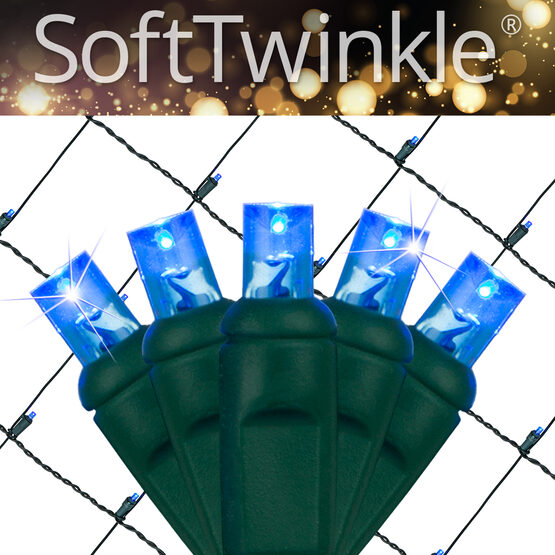 4' x 6' 5mm SoftTwinkle LED Net Lights, Blue, Green Wire