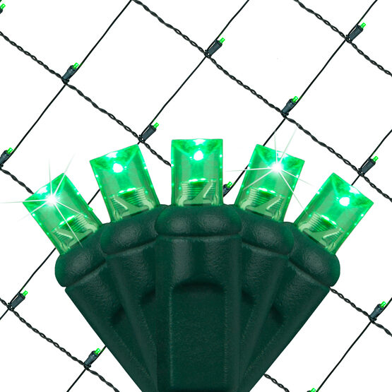4' x 6' 5mm SoftTwinkle LED Net Lights, Green, Green Wire