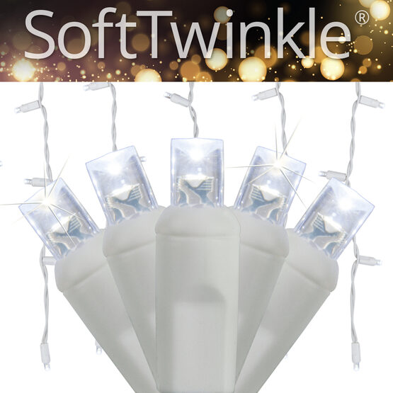 70 5mm SoftTwinkle LED Icicle Lights, Cool White, White Wire