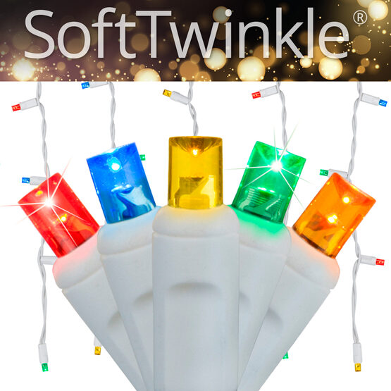 70 5mm SoftTwinkle LED Icicle Lights, Multicolor, White Wire