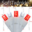 70 5mm SoftTwinkle LED Icicle Lights, Red/Cool White, White Wire