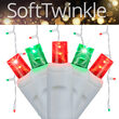 70 5mm SoftTwinkle LED Icicle Lights, Red/Green, White Wire