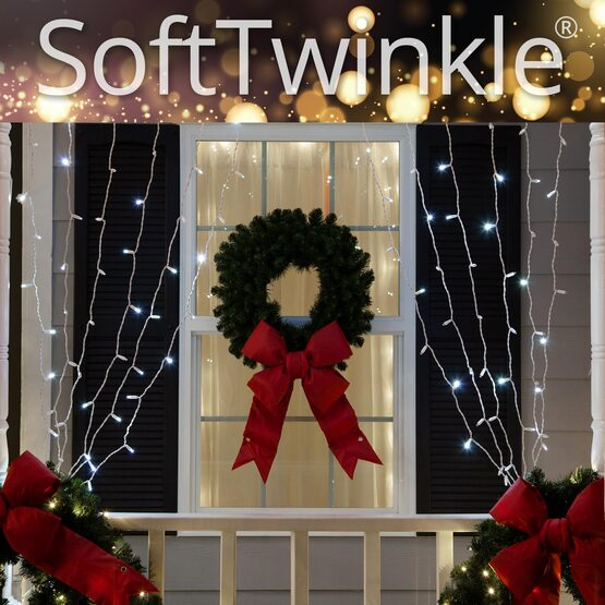 "SoftTwinkle TM LED Curtain Lights, 66"" Drops, Cool White 5mm Lights, White Wire"