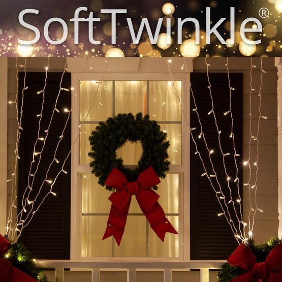 """SoftTwinkle TM LED Curtain Lights, 66"""" Drops, Warm White 5mm Lights, White Wire"""