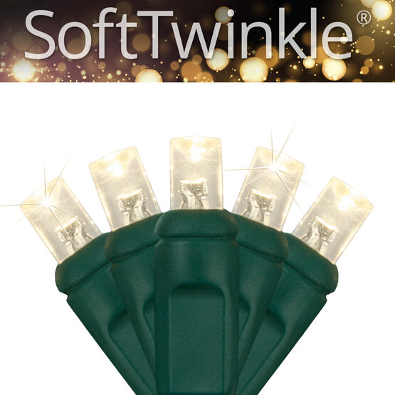 SoftTwinkle TM Wide Angle LED Mini Lights, Warm White, Green Wire