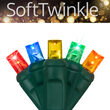 SoftTwinkle TM Wide Angle LED Mini Lights, Multicolor, Green Wire