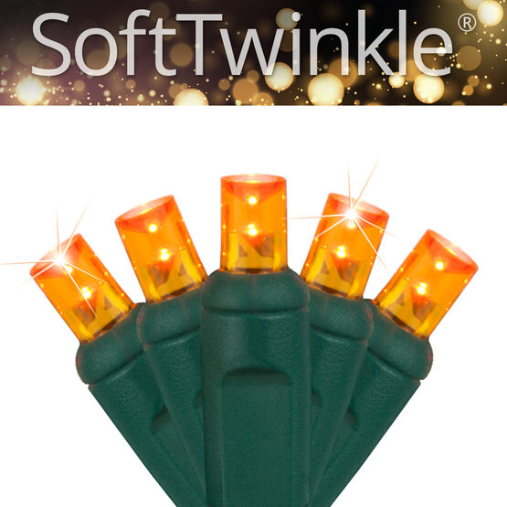 SoftTwinkle TM Wide Angle LED Mini Lights, Amber, Green Wire