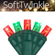 SoftTwinkle TM Wide Angle LED Mini Lights, Red, Green, Green Wire