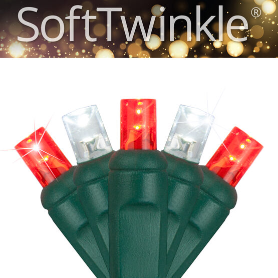 SoftTwinkle Wide Angle LED Mini Lights, Red, Cool White, Green Wire