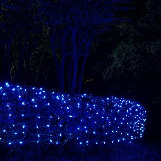 4' x 6' M5 LED Net Lights, Blue, Green Wire