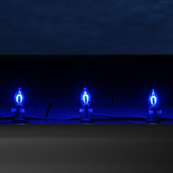 FlexFilament C7 Commercial Shatterproof Vintage LED String Lights, Blue, 15 Lights, 15'