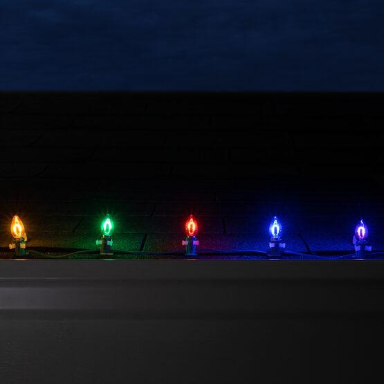 FlexFilament TM C7 Commercial Shatterproof Vintage LED String Lights, Multicolor, 15 Lights, 15'