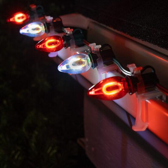 FlexFilament C7 Commercial Shatterproof Vintage LED String Lights, Cool White / Red, 50 Lights, 50'