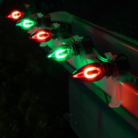 FlexFilament C7 Commercial Shatterproof Vintage LED String Lights, Green / Red, 50 Lights, 50'