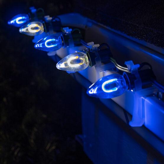 FlexFilament C7 Commercial Shatterproof Vintage LED String Lights, Blue / Cool White, 50 Lights, 50'