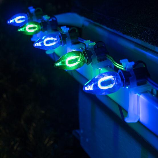 FlexFilament TM C7 Commercial Shatterproof Vintage LED String Lights, Blue / Green, 50 Lights, 50'