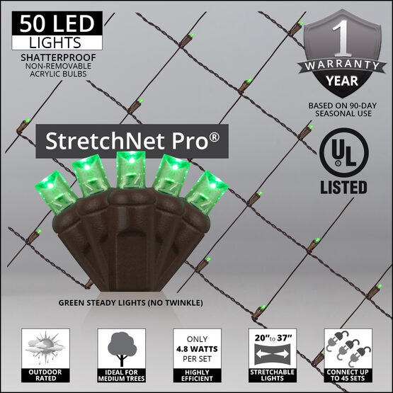 "LED StretchNet Pro Trunk Wrap Lights, 20"" x 45"", Green, Brown Wire"