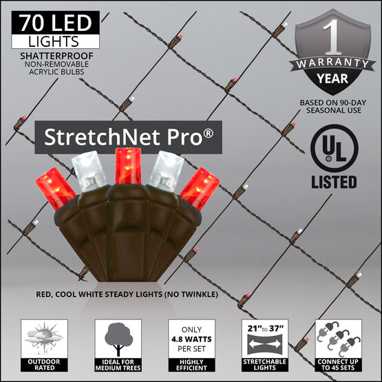 """LED StretchNet Pro Trunk Wrap Lights, 21"""" x 31"""", Red, Cool White, Brown Wire"""