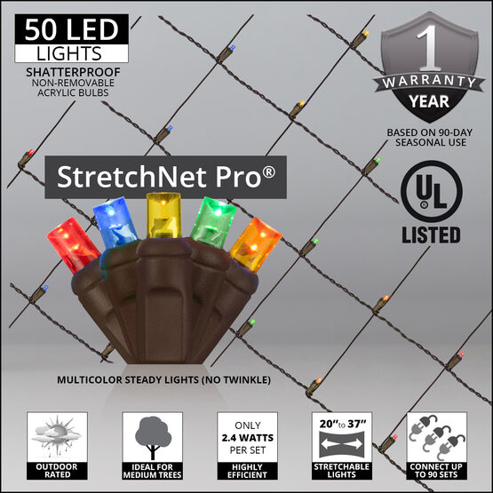 """LED StretchNet Pro Trunk Wrap Lights, 20"""" x 45"""", Multicolor, Brown Wire"""