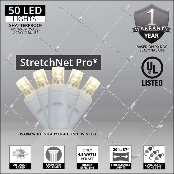 "LED StretchNet Pro Column Wrap Lights, 20"" x 45"", Warm White, White Wire"