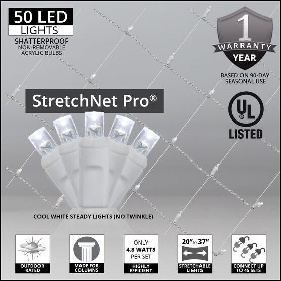 "LED StretchNet Pro Column Wrap Lights, 20"" x 45"", Cool White, White Wire"