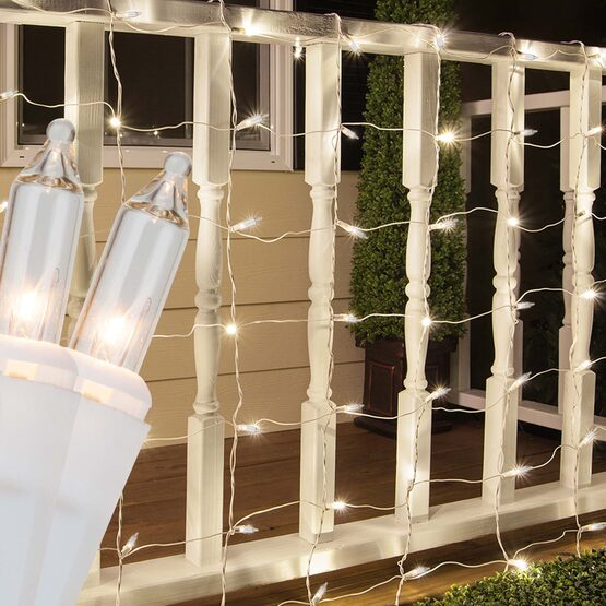 4' x 6' Net Lights, Clear, White Wire