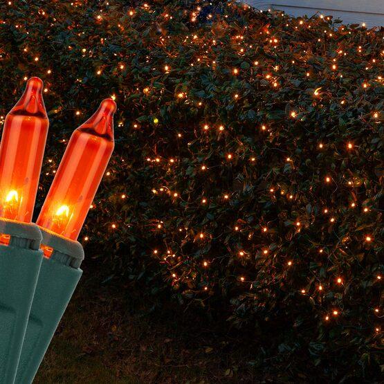 4' x 6' Net Lights, Orange, Green Wire