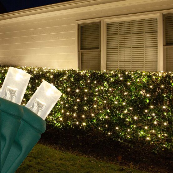 4' x 6' 5mm LED Net Lights, Warm White, Green Wire