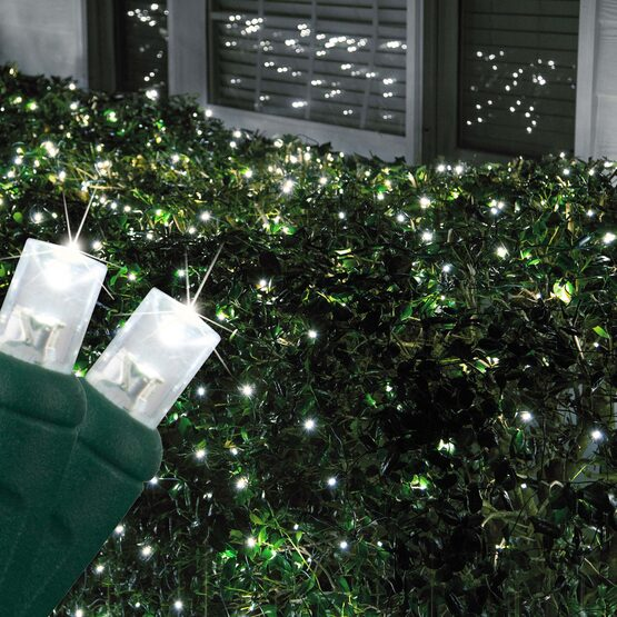 4' x 6' 5mm LED Net Lights, Cool White Twinkle, Green Wire