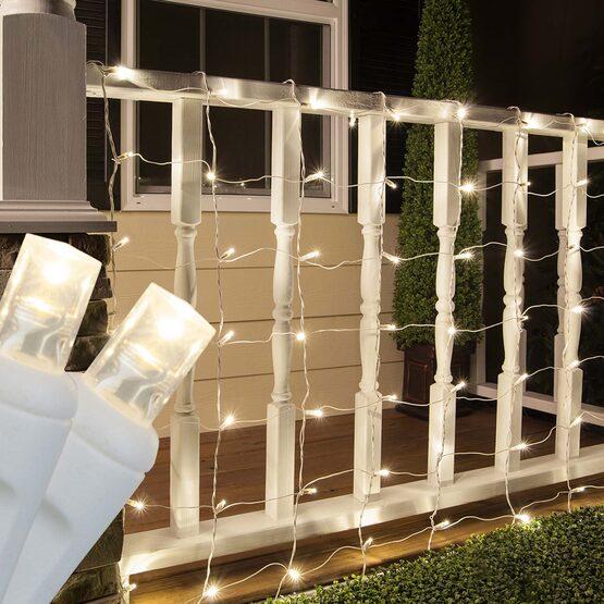 4' x 6' 5mm LED Net Lights, Warm White, White Wire