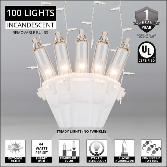 150 Commercial Icicle Lights, Clear, White Wire