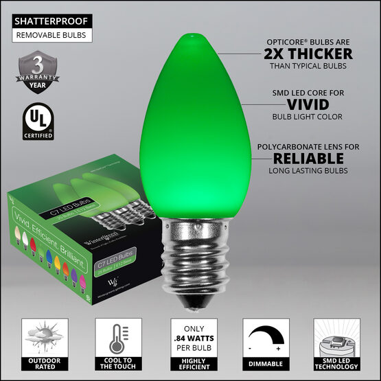 Smooth OptiCore C7 Commercial LED String Lights, Green, 25 Lights, 25'