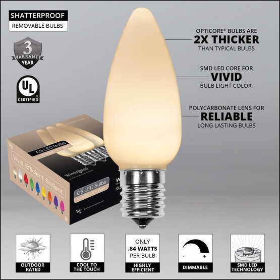 C9 Smooth OptiCore LED Light Bulbs, Warm White