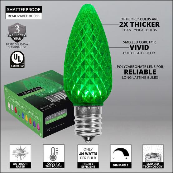 OptiCore C9 Commercial LED String Lights, Green, 25 Lights, 25'