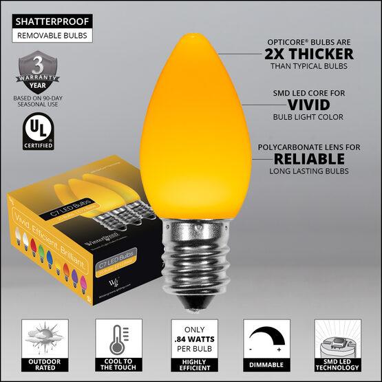 C7 Smooth OptiCore LED Light Bulbs, Gold
