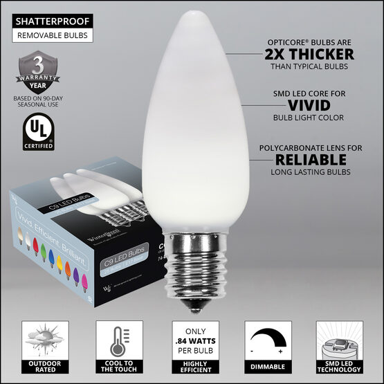 C9 Smooth OptiCore LED Light Bulbs, Cool White