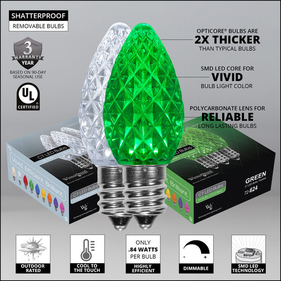 OptiCore C7 Commercial LED String Lights, Cool White / Green, 50 Lights, 50'