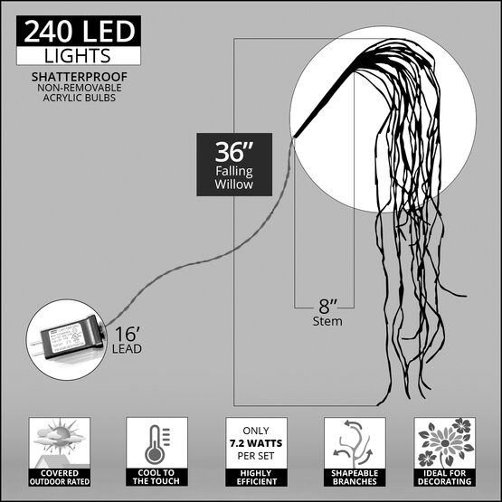 """36"""" Silver Falling Willow LED Lighted Branches, Warm White Twinkle Lights, 1 pc"""