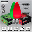 Smooth OptiCore C9 Commercial LED String Lights, Green / Red, 100 Lights, 100'
